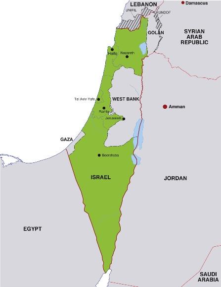 Landkarte von Israel und dem Toten Meer